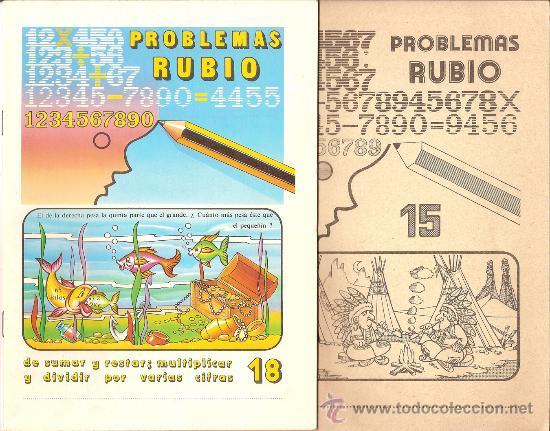 LOTE 2 CUADERNOS RUBIO DE 1978. PROBLEMAS RUBIO, NÚMEROS 15 Y 18 (Libros de Segunda Mano - Libros de Texto )