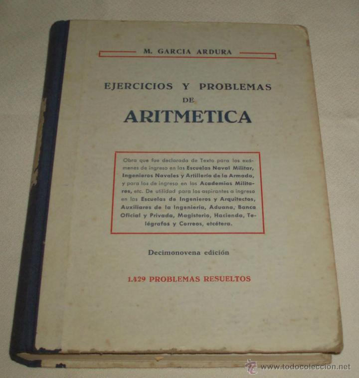 EJERCICIOS Y PROBLEMAS DE ARITMETICA 1429 PROBLEMAS RESUELTOS (Libros de Segunda Mano - Libros de Texto )