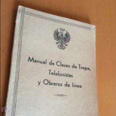 Libros de segunda mano: MANUAL DE CLASE DE TROPA, TELEFONISTAS Y OBREROS DE LINEA. HIDALGO.. Lote 45131282