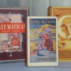 Libros de segunda mano: LOTE DE TRES LIBROS ESCOLARES: FISIOLOGÍA, MATEMÁTICAS E HISTORIA DE ESPAÑA.. Lote 46143456