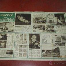 Libros de segunda mano: ANTIGUO CARTEL DE LA ACTUALIDAD Nº 14 Y 15 DE 1955 MINISTERIO DE EDUCACION NACIONAL 76 X 112 CM.. Lote 46165772