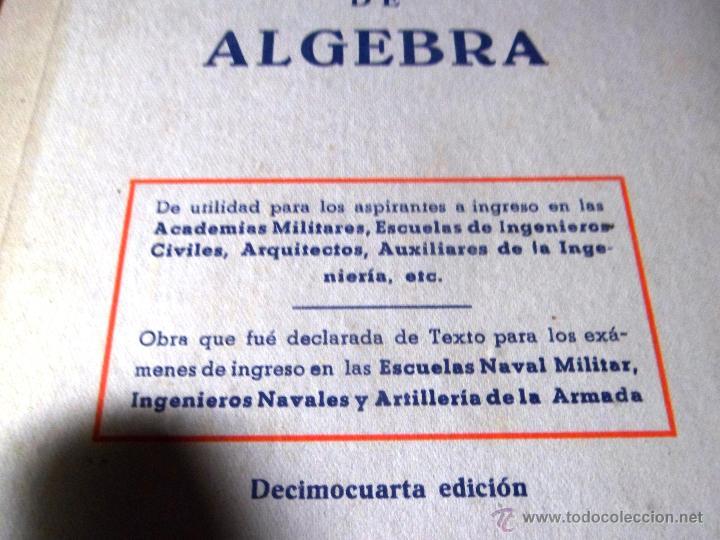 Libros de segunda mano: EJERCICIOS Y PROBLEMAS DE ALGEBRA. M. GARCÍA ARDURA. 1765 PROBLEMAS RESUELTOS. 14ª ED. (1962) - Foto 2 - 48577014