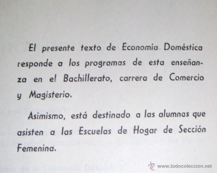 Libros de segunda mano: Economía doméstica-Bachillerato-Magisterio-Comercio-Sección Femenina de F.E.T. y de las J.O.N.S 1965 - Foto 2 - 112226527