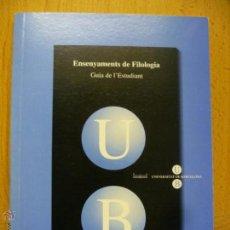 Libros de segunda mano: ENSENYAMENTS DE FILOLOGIA - GUIA DE L'ESTUDIANT - CURS 2003 - 2004 (EN CATALAN). Lote 50575991