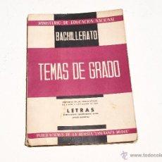 Libros de segunda mano: TEMAS DE GRADO - BACHILLERATO AÑO 1960. Lote 50961416