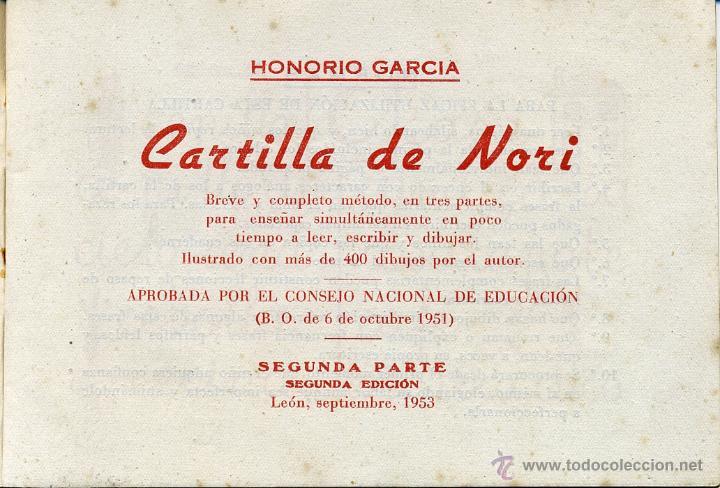 Gebrauchte Bücher: Cartilla de Nori. Segunda parte. Honorio García. 1953 León. - Foto 3 - 49156171
