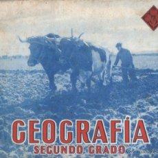 Libros de segunda mano: GEOGRAFIA SEGUNDO GRADO (EDELVIVES 1944) CON LÁMINA DEL DICTADOR. Lote 53347268