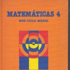 Libros de segunda mano: MATEMATICAS 4 , EGB CICLO MEDIO -ED. SANTILLANA 1988. Lote 54206180