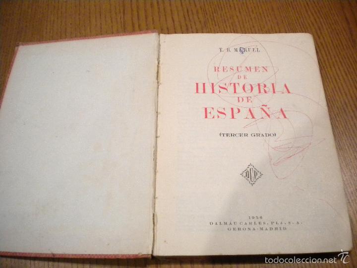Libros de segunda mano: resumen de historia de españa / T.B. marull / Dalmau carles - Foto 2 - 55114382