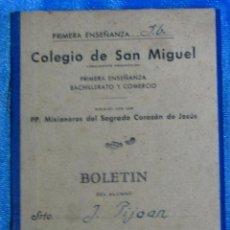Libros de segunda mano: COLEGIO DE SAN MIGUEL PRIMERA ENSEÑANZA, BACHILLERATO Y COMERCIO. LIBRETA DE NOTAS, BARCELONA, S/F.. Lote 55774492