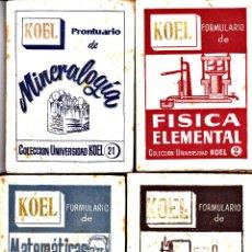 Libros de segunda mano: LOTE LIBROS KOEL- MATEMATICAS FISICA QUIMICA MINERALOGIA MICROBIOLOGIA . Lote 80780310