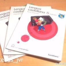 Libros de segunda mano: LENGUA CASTELLANA 5 LIBROS DE TEXTO 5º PRIMARIA TODOS LOS TRIMESTRES LA CASA DEL SABER SANTILLANA. Lote 80525981