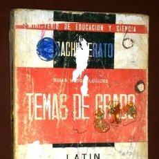 Libros de segunda mano: TEMAS DE GRADO ELEMENTAL DE LATÍN EN 1966 DEL MINISTERIO DE EDUCACIÓN NACIONAL. Lote 80584974