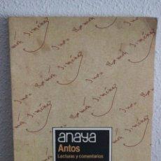 Livros em segunda mão: ANAYA-ANTOS-LECTURAS Y COMENTARIOS-EQUIPO TROPOS-8º E.G.B-1985. Lote 100740943