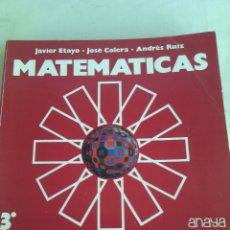 Libros de segunda mano: MATEMATICAS 3 BUP ANAYA 1977.. Lote 103890828