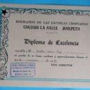 Libros de segunda mano: VALE DE PREMIO ESCOLAR. DIPLOMA DE EXCELENCIA. COLEGIO LA SALLE - JOSEPETS. BARCELONA, 1965.. Lote 105813851