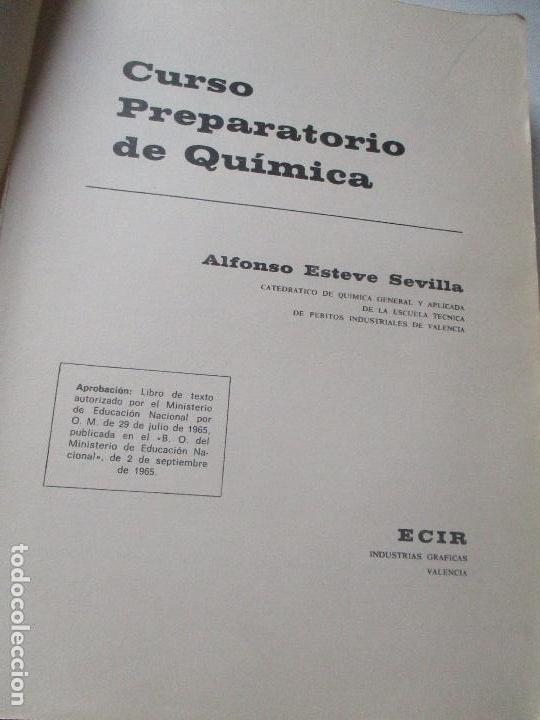 Libros de segunda mano: CURSO PREPARATORIO DE QUÍMICA , ALFONSO ESTEVE SEVILLA-1965-ECIR.- VALENCIA - Foto 4 - 112244743