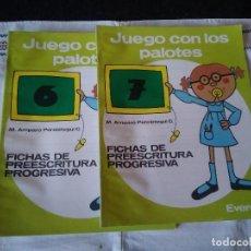 Libros de segunda mano: 83-JUEGO CON LOS PALOTES, FICHAS DE PREESCRITURA PROGRESIVA, 6-7,EVEREST 1991. Lote 114123207