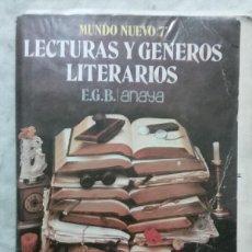Libros de segunda mano: MUNDO NUEVO 7. LECTURAS Y GENEROS LITERARIOS. ANAYA.. Lote 114820567