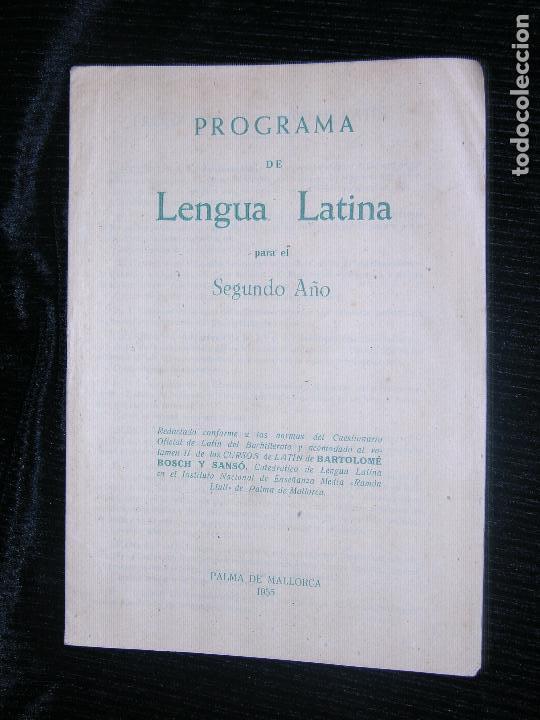 F1 PROGRAMA DE LENGUA LATINA PARA EL SEGUNDO AÑO (Libros de Segunda Mano - Libros de Texto )