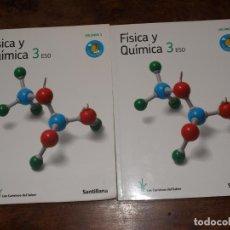 Libros de segunda mano: LIBRO FISICA Y QUIMICA 3 ESO SANTILLANA. LOS CAMINOS DEL SABER 2 TOMOS. VER FOTOS Y DESCRIPCION. Lote 126995735