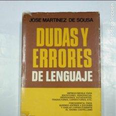 Libros de segunda mano: DUDAS Y ERRORES DE LENGUAJE. - MARTÍNEZ DE SOUSA, JOSÉ MARTÍNEZ. TDK349. Lote 128517479