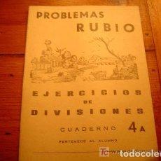 Libri di seconda mano: PROBLEMAS RUBIO - EJERCICIOS DE DIVISIONES - CUADERNO 4A - EDICIONES RUBIO,1959 - SIN USO. Lote 131785978