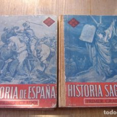 Libros de segunda mano: LOTE: HISTORIA SAGRADA E HISTORIA DE ESPAÑA. PRIMER GRADO. 1951 VICENS VIVES.. Lote 135185250