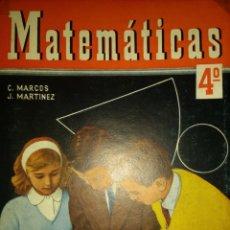 Libros de segunda mano: MATEMÁTICAS 4° CURSO. CONSTANTINO MARCOS Y JACINTO MARTÍNEZ. AÑO 1960. EDICIONES S. M. TAPA DURA. PÁ. Lote 135339301