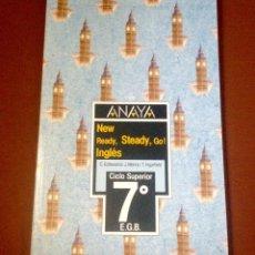 Libros de segunda mano: ANAYA NEW READY, STEADY, GO!. 7º EGB. LIBRO DE TEXTO DE INGLES. 1988.. Lote 135585242
