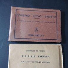 Libros de segunda mano: CARPETA Y FICHAS / EVALUACION Y CONTROL DE ASISTENCIA DEL ALUMNO / ERPAS / EVEREST / AÑOS 70 /. Lote 137850606