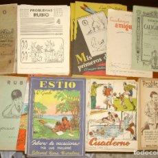 Libros de segunda mano: 34 CUADERNOS ESCOLARES SIN USO DE DEBERES -CALIGRAFIA,ESCRITURA,PROBLEMAS-DIBUJOS - VER FOTOS. Lote 139579766