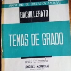Libros de segunda mano: TEMAS DE GRADO. LENGUAS MODERNAS. 1.959. GRADO SUPERIOR. BACHILLERATO.. Lote 143136702