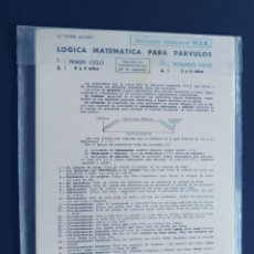 Libros de segunda mano: LOGICA MATEMATICA PARA PARVULOS ( SEGUNDO CICLO -3) ED. SANTIAGO RODRIGUEZ BURGOS 1978 / SIN USAR. Lote 145197862