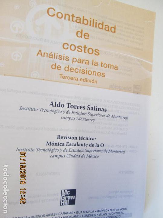 Libros de segunda mano: CONTABILIDAD DE COSTOS ANALISIS PARA LA TOMA DE DECISIONES MCGRAW HILL - Foto 5 - 147777966