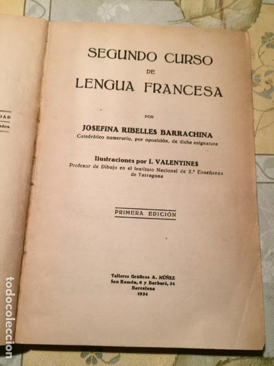 Libros de segunda mano: Antiguo libro escolar de lengua francesa por Josefina Ribelles año 1934 - Foto 2 - 155850926