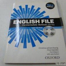 Libros de segunda mano: ENGLISH FILE -PRE INTERMEDIATE WORKBOOK WITH KEY -CON CD ROM-OXFORD- N 2. Lote 157704250