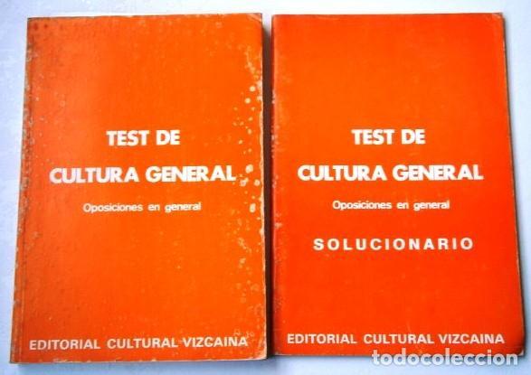 TEST Y SOLUCIONARIO DE CULTURA GENERAL 2T DE ED. CULTURAL VIZCAÍNA EN BILBAO 1989 (Libros de Segunda Mano - Libros de Texto )