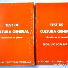 Libros de segunda mano: TEST Y SOLUCIONARIO DE CULTURA GENERAL 2T DE ED. CULTURAL VIZCAÍNA EN BILBAO 1989. Lote 158611162