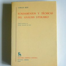 Livres d'occasion: FUNDAMENTOS Y TECNICAS DEL ANALISIS LITERARIO - CARLOS REIS. Lote 162128314