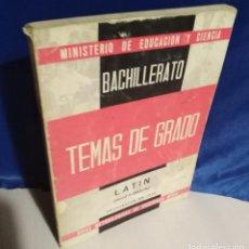 Libros de segunda mano: TEMAS DE GRADO. LATIN - 1968 - BACHILLERATO - GRADO ELEMENTAL - MINISTERIO EDUCACIÓN. Lote 165853290