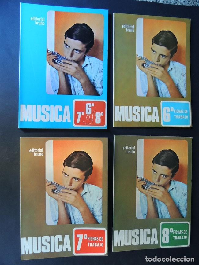 MUSICA / LIBRO DE TEXTO Y 3 LIBROS FICHAS DE TRABAJO / CURSOS 6 - 7 - 8 E.G.B. / ED. BRUÑO /SIN USAR (Libros de Segunda Mano - Libros de Texto )