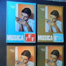 Libros de segunda mano: MUSICA / LIBRO DE TEXTO Y 3 LIBROS FICHAS DE TRABAJO / CURSOS 6 - 7 - 8 E.G.B. / ED. BRUÑO /SIN USAR. Lote 171055604