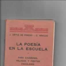 Libros de segunda mano: LA POESÍA EN LA ESCUELA. J. ORTIZ DE PINEDO. C. ARAUJO.. Lote 171421052