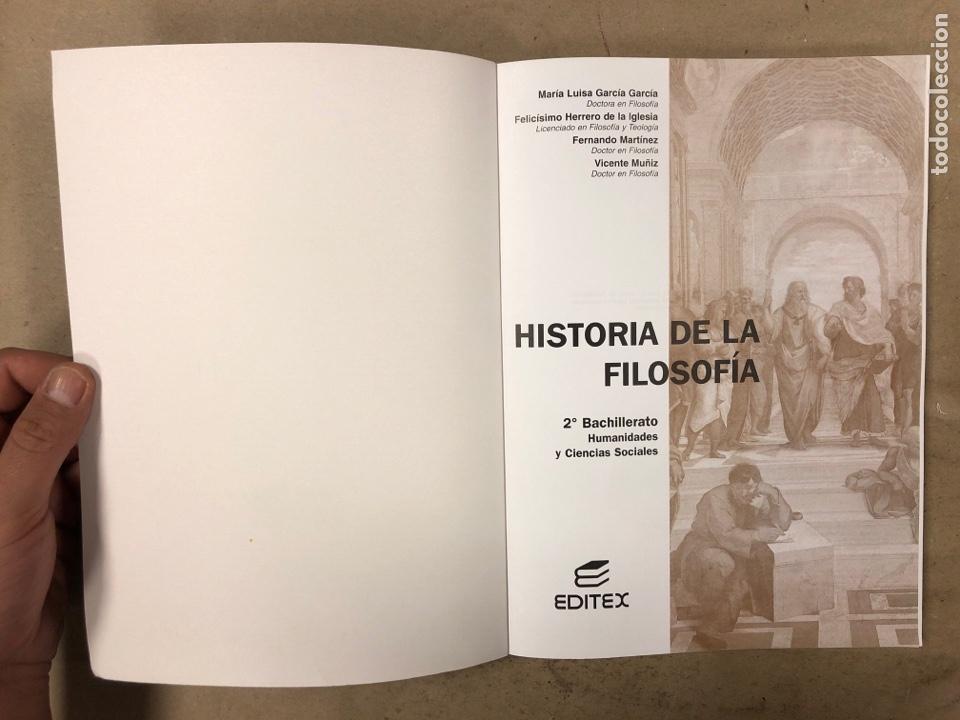 Libros de segunda mano: HISTORIA DE LA FILOSOFÍA. VV.AA. 2º BACHILLERATO HUMANIDADES Y CIENCIAS SOCIALES. EDITEX 1998 - Foto 2 - 174607244