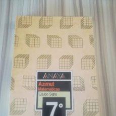 Libros de segunda mano: MATEMÁTICAS 7° EGB. ANAYA. AZIMUT EQUIPO SIGNO.. Lote 175125485