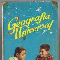 Libros de segunda mano: LIBRO DE TEXTO GEOGRAFÍA UNIVERSAL 2ª CURSO DE BACHILLERATO EDICIONES SM. 1963. Lote 177044108