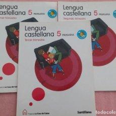 Libros de segunda mano: 5º PRIMARIA, LENGUA CASTELLANA, 1º, 2º Y 3º TRIMESTRE, LA CASA DEL SABER, SANTILLANA, 2011. Lote 184457196