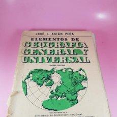 Libros de segunda mano: LIBRO-ELEMENTOS DE GEOGRAFÍA GENERAL Y UNIVERSAL-L ASIÁN PEÑA-1963-BOSCH EDITORIAL-VER FOTOS. Lote 187522585