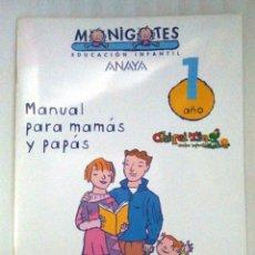 Libros de segunda mano: MONIGOTES ANAYA 1 AÑO. MANUAL PARA MAMÁS Y PAPÁS. Lote 194275362